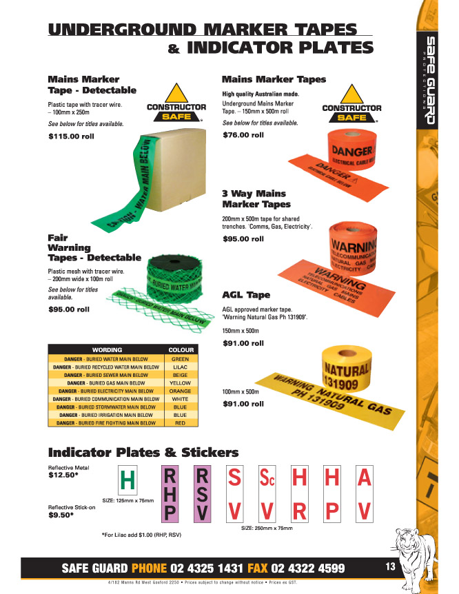 Underground Marker Tapes and Indicator Plates